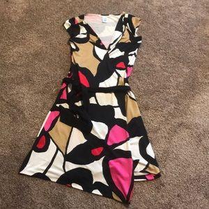 DVF Colorblock Silk Wrap Dress 6